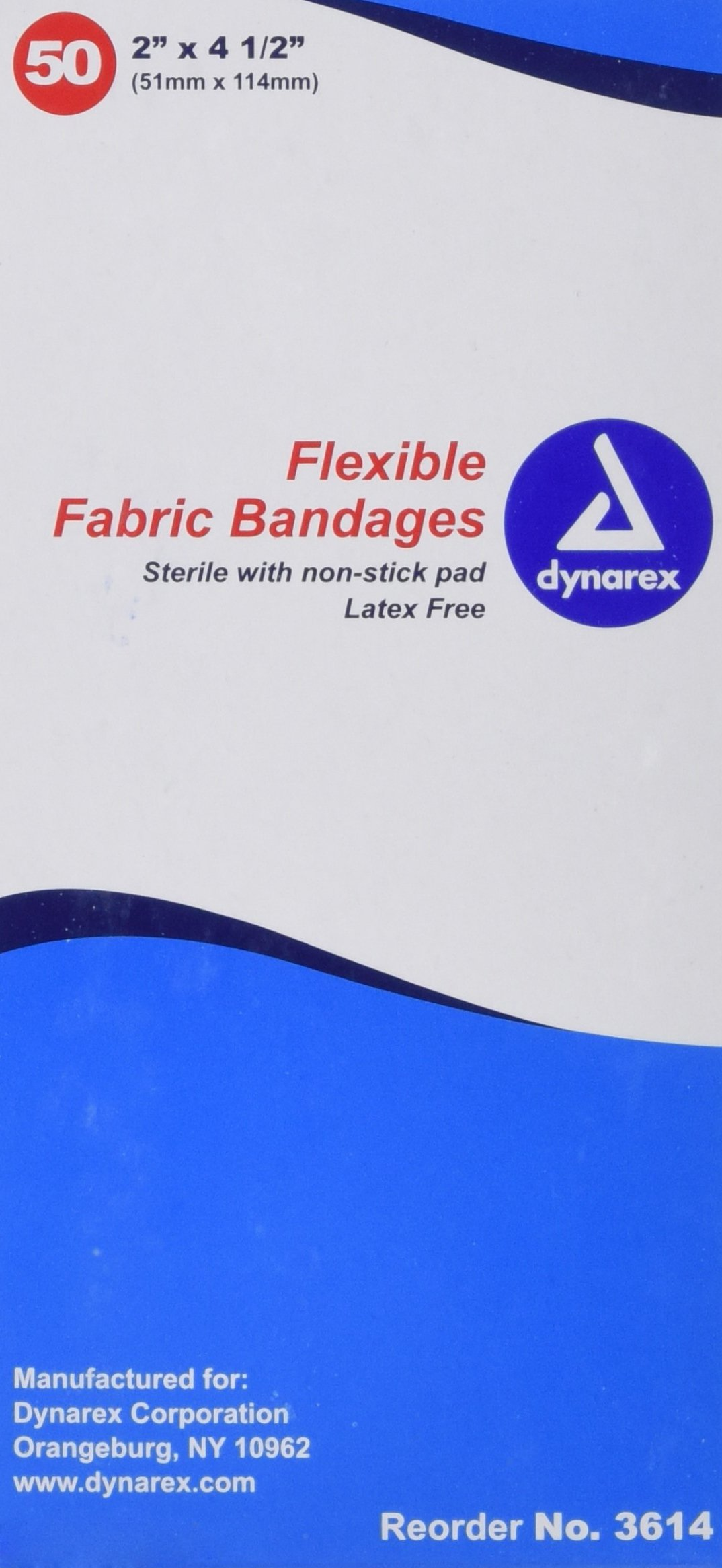 Dynarex Adhesive Fabric Bandages Sterile, 2 x 4 1/2 Inch, 24 Count