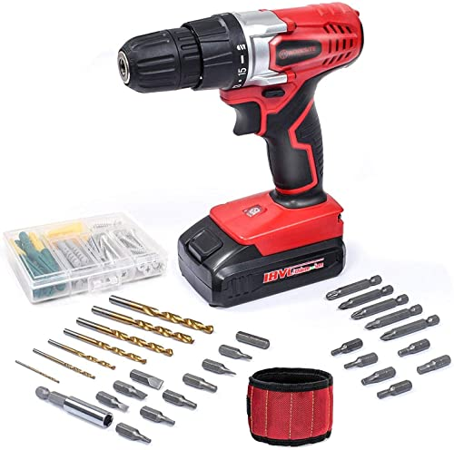 WORKSITE 18V Cordless Electric Drill ScrewDriver with 1300mA Lithium-Ion Battery, 29 Pcs Bits Set, 16 Position Keyless Clutch, Variable Speed Switch, Lightweight, Built-in LED Light, Magnet Wristband