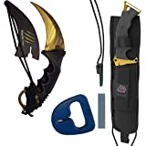 Karambit and Huntsman Knife 2 Piece Set | CSGO Skins | Karambit With Neck Knife Sheath and Sharpener | Huntsman with Whetstone and Fire Starter | Perfect Military Knife or Hunting Knife (Tiger Stripe)