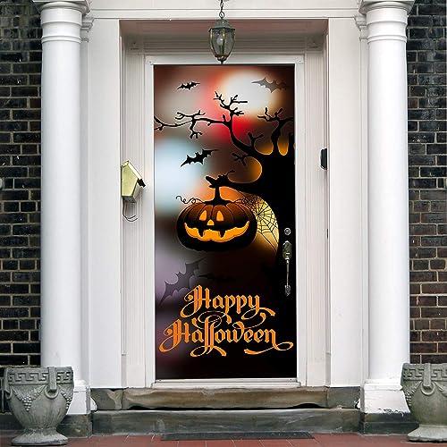 Bats Halloween Front Door Cover. Happy Halloween Banner Pumpkin Decor For Entry  Door. Pumpkin