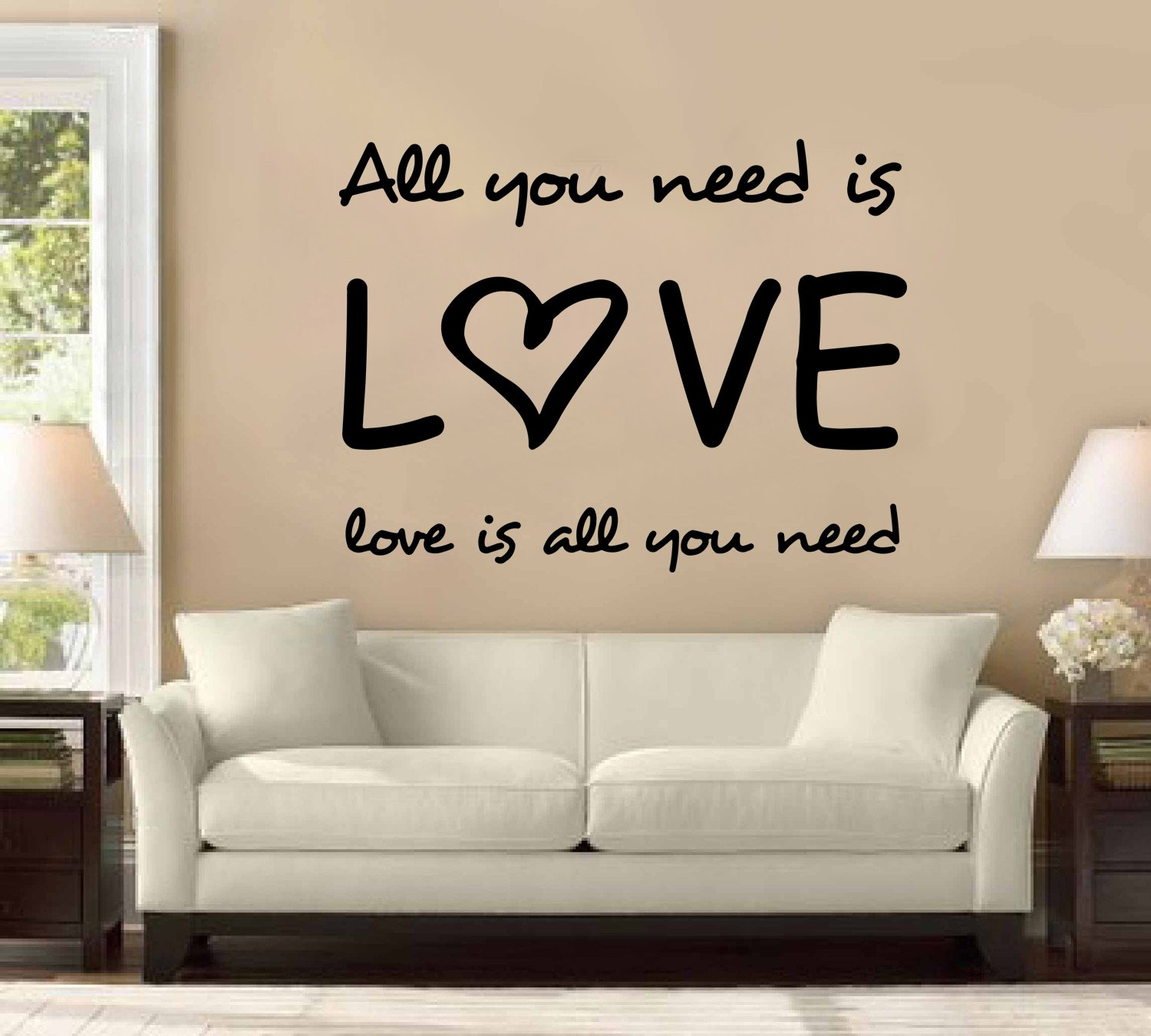 Amazon all you need is love the beatles large wall decal amazon all you need is love the beatles large wall decal sticker home decoration decor home kitchen amipublicfo Choice Image