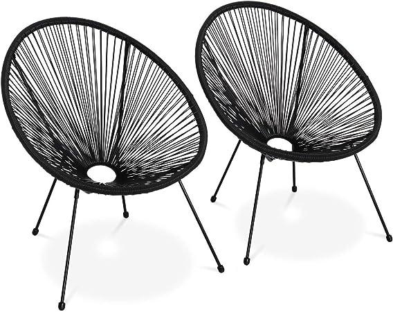 Alice's Garden Lot de 2 fauteuils Design Oeuf Acapulco Noir Fauteuils 4 Pieds Design rétro, Cordage Plastique, intérieurextérieur