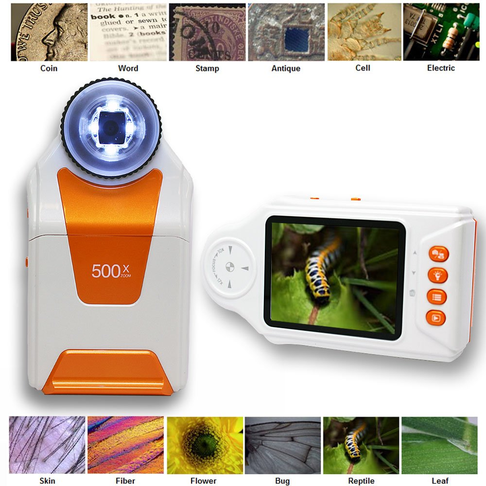 Indigi DM500x Outdoor Adventure Digital Mobile Magnifier Microscope 500x ZOOM w/ 2.7'' Color LCD Display - Great Gift!