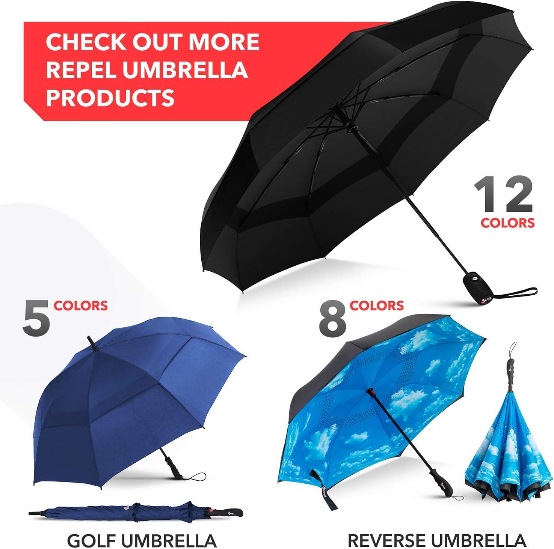 Black Repel Windproof Travel Umbrella with Teflon Coating