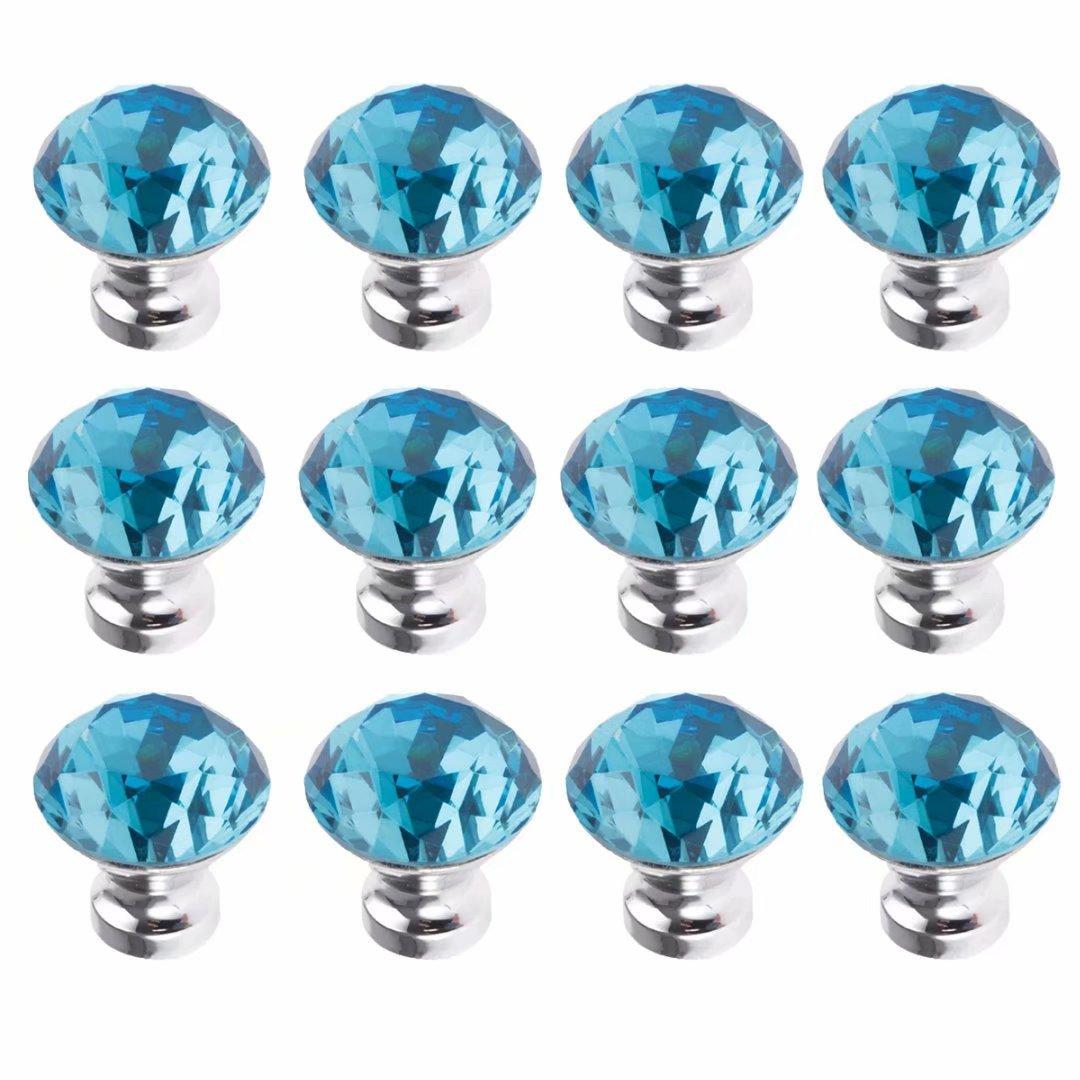 FirstDecor Sky-Blue Crystal Acrylic Glass Diamond Cut Knobs/Handles/Pulls for Kitchen Cabinets,Cupboards,Wardrobe,Drawer,Dresser, Closet,Checkroom (Set of 12 PCS)