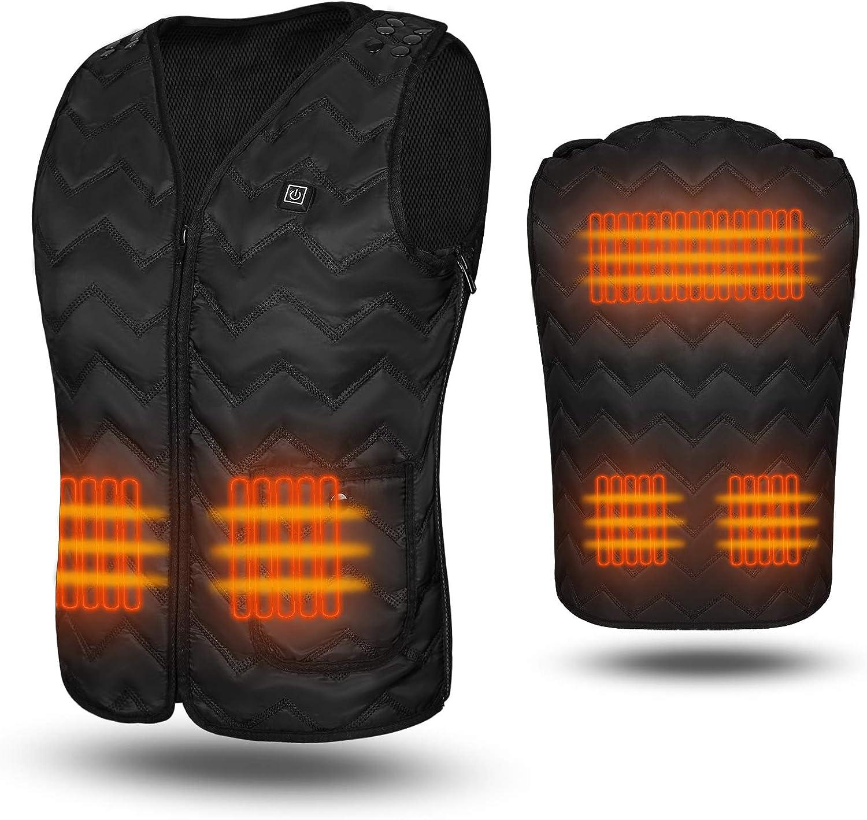 WOOTSHU Electric Heated Vest Heating Body Warmer for Unisex Outdoor Activities