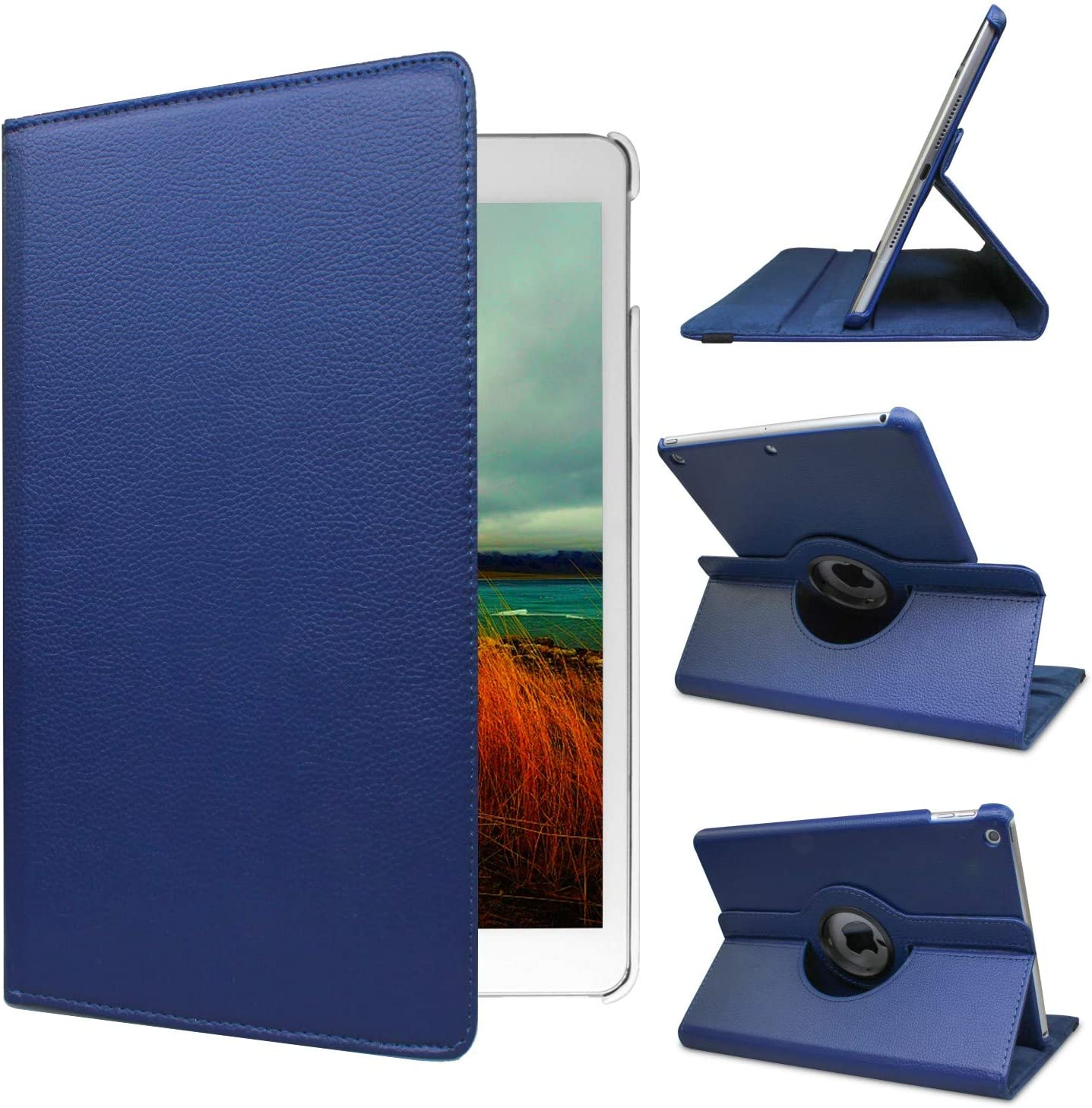 Ipad Case 360 Degrees Rotating Stand Leather Magnetic Smart Cover Case for Ipad 2/3/4 Generation Case with Bonus Screen Protector, Stylus and Cleaning Cloth (Royal Blue)