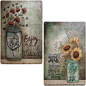 TISOSO Enjoy The Little Things Colorful Sunflower Retro Vintage Tin Sign Primitive Country Farmhouse Home Decor Sign 2Pcs-8X12Inch