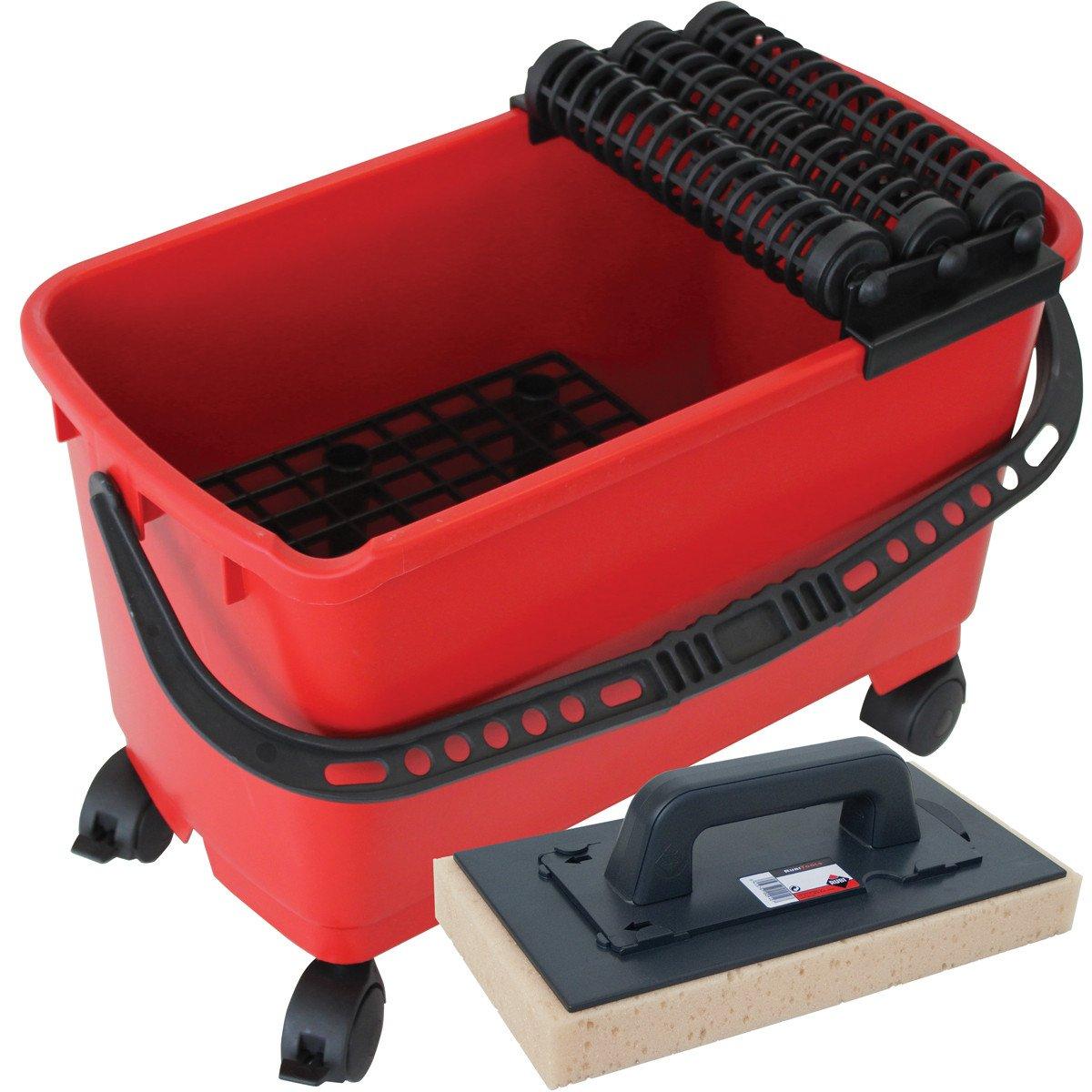 Rubi Tools Rubiclean Triple Wash Bucket Includes 1 Interchangeable Sponge With Handle