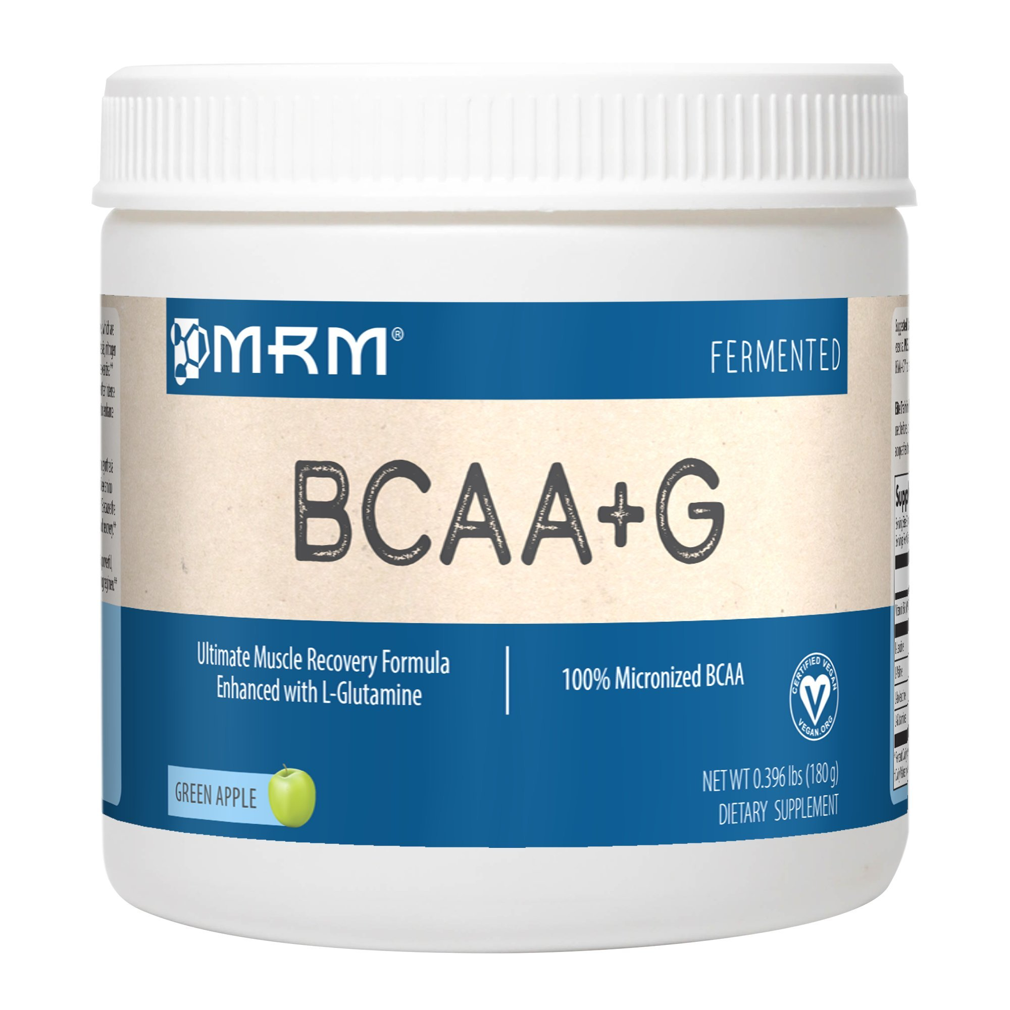 MRM - BCAA+G Powder, BCAA+G Powder, Ultimate Muscle Post-Workout Recovery Formula, Supports Muscle Size & Strength, Recovery, Reduces Fatigue & Muscle Soreness (Green Apple, 180 g)