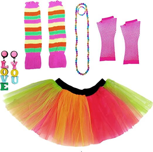 Neon Yellow 80s 90s Stretchy Tutu Under Skirt Fancy Dress Party Accessory