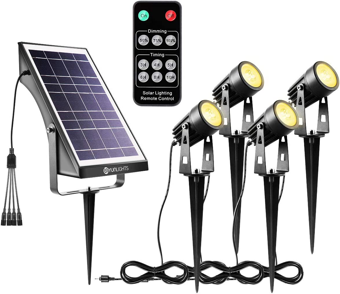 YUNLIGHTS Solar Spotlights Outdoor Landscape Lights Upgraded, Low Voltage Outdoor Solar Spotlight with Remote Control IP65 Waterproof Garden Lights for Patio, Yard, Pathway Warm White, 4 Pack