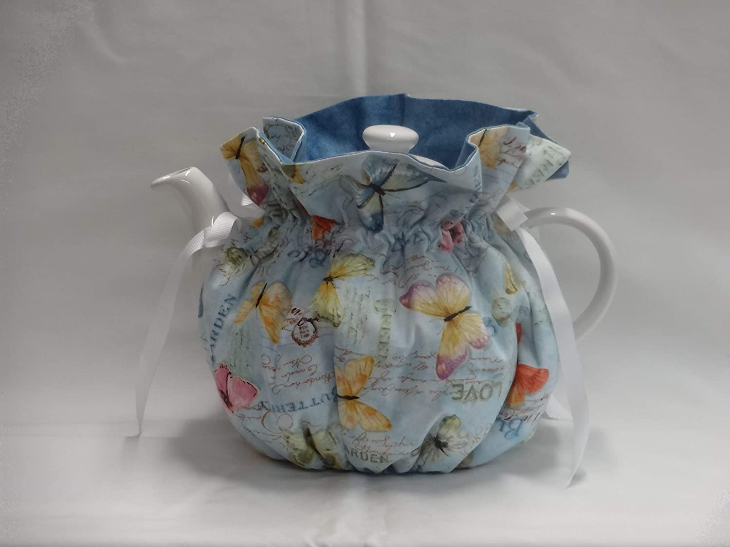 Pretty Butterflies on Blues 6 Cup Reversible Tea Pot Cozy