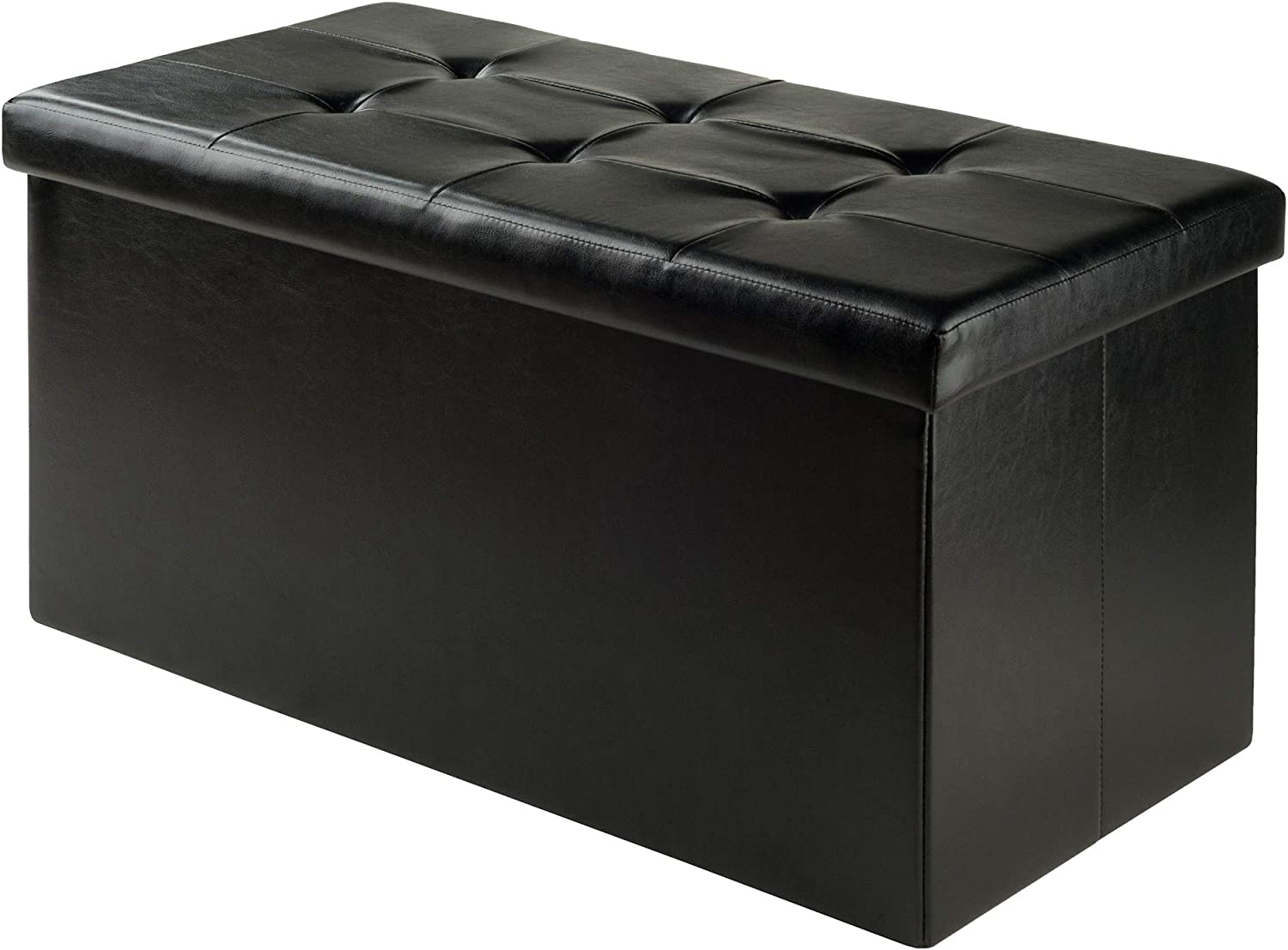 Winsome Wood Furniture piece Ashford Ottoman with Storage Faux Leather, Black