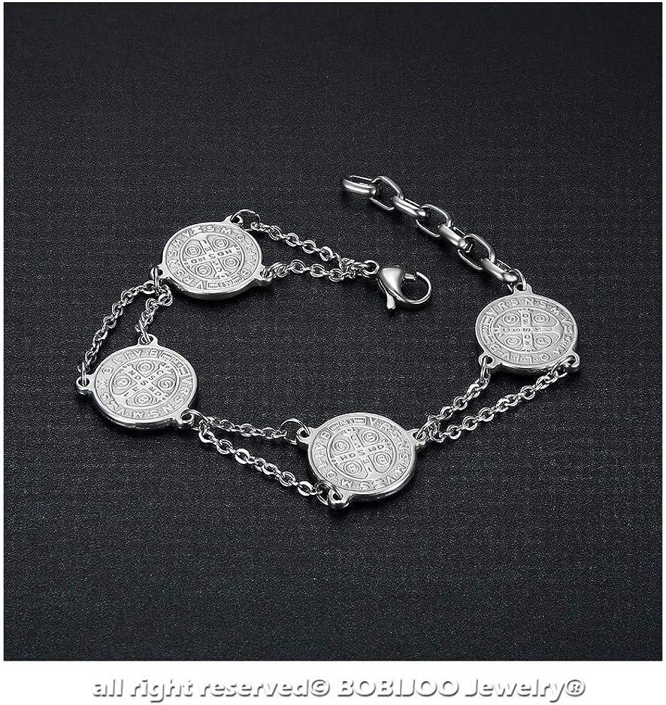 BOBIJOO Jewelry Bracelet Acier Inoxydable 316L Saint-Beno/ît M/édaille Protection Exorcisme Argent/é