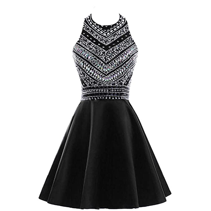 48385753be0ee HEIMO Women's Sparkly Beaded Homecoming Dresses Sequined Prom Gowns Short  H212