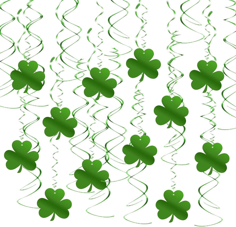 TAZEMAT Tr/ébol Espiral Colgante 30pcs Remolino Verde Tr/ébol Color de Suerte Adorno para D/ía de San Patricio Decoraci/ón Espiral Suministro para Fiesta Irlandesa Bar Colgar en Techo