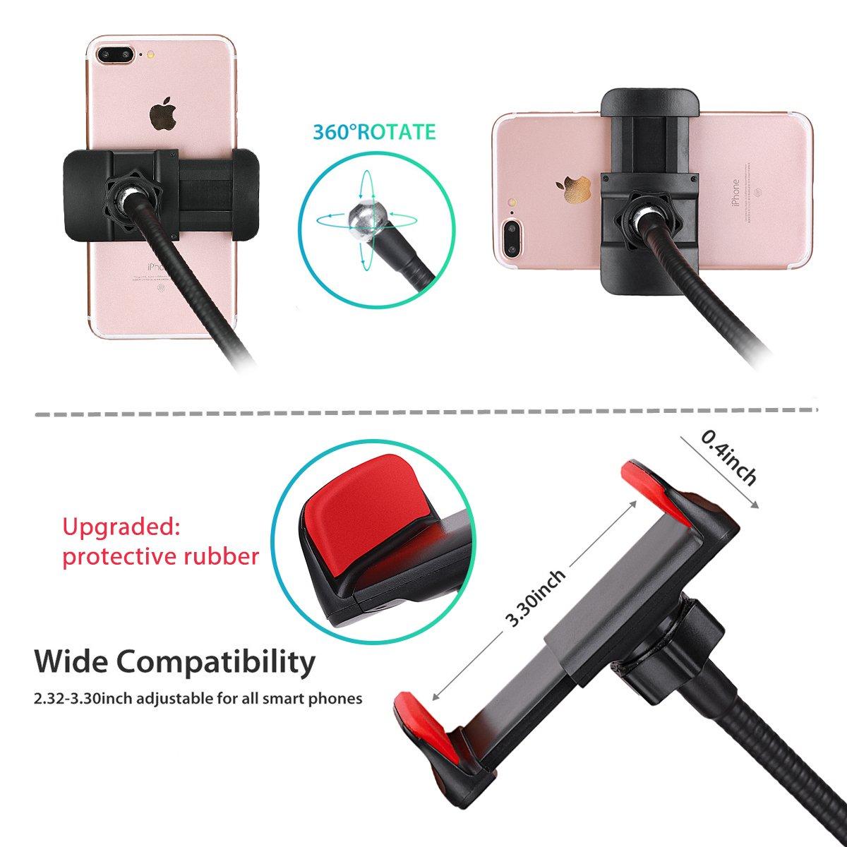 Reeple Selfie Ring Light Cell Phone Holder 48 LED Light Live Stream Makeup, Flexible Mobile Phone Clip Holder Lazy Bracket Desk Light Bedroom, Office, Kitchen, Bathroom