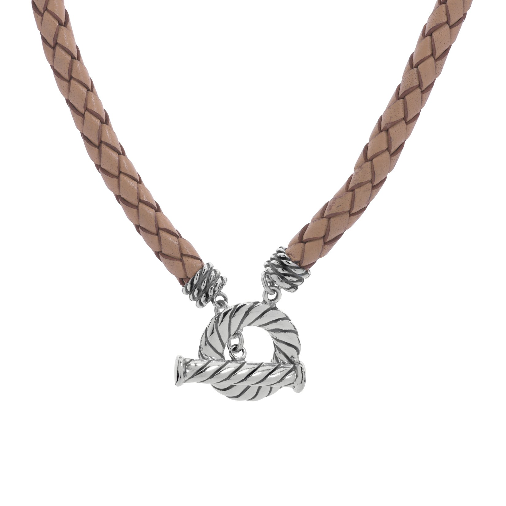 American West Sterling Silver 20 Inch Beige Leather Toggle Necklace - Classics Collection