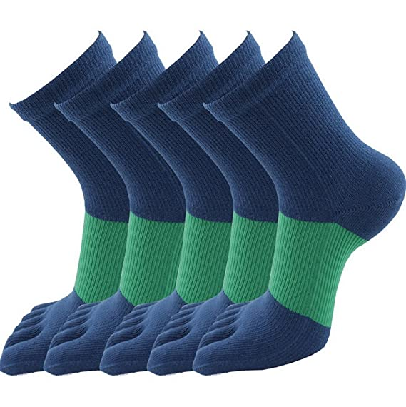 602feaa5a1be6 Evedaily Lot de 5 Paires de Chaussettes Homme Mi Hautes - Chaussettes  Orteils Separés - Chaussettes