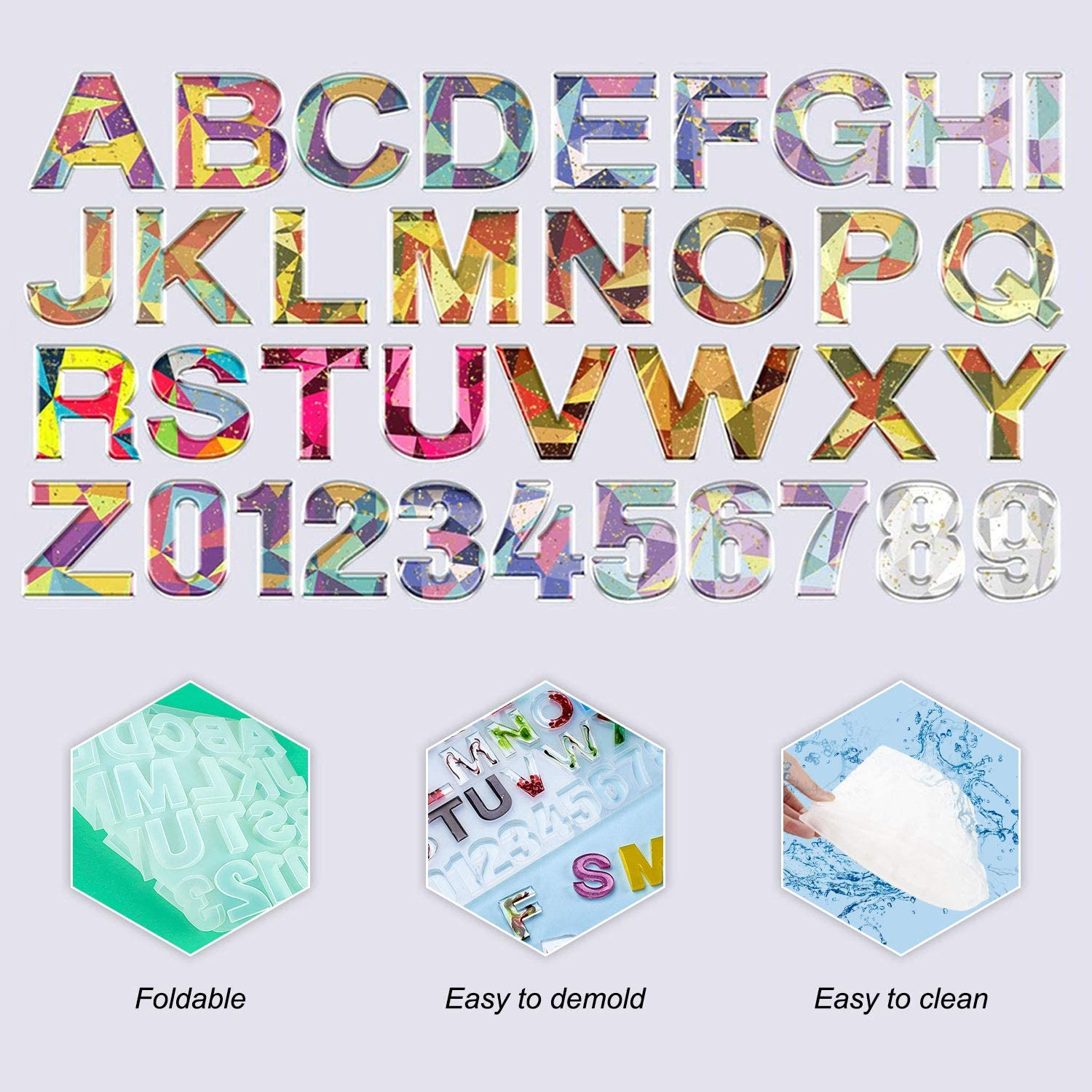 Alphabet Silicone Resin Molds 328 Pcs Letter Number Epoxy Molds ...