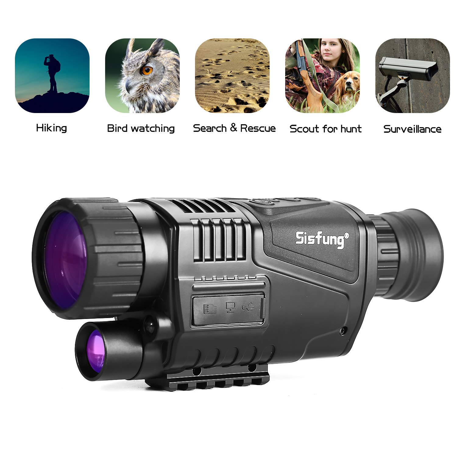 Sisfung Night Vision Monocular (Included 16GB TF Card), 5x40mm HD Night Vision Monocular Take Photos and Videos (Tags Time/Date) Up to 656ft in Full Darkness. by Sisfung