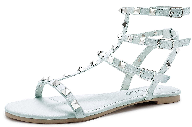 3d70690736ba SANDLUP Sparkly Women s Rivet Ankle Straps Flat Sandals  Amazon.com ...
