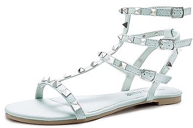 SANDALUP Funkelnd Niets Straps Damen Sandalen mit Verstellbare Metall Schnalle Sommer Schuhe
