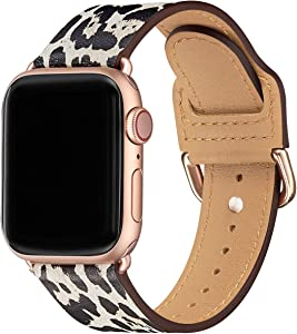 POWER PRIMACY Bands Compatible with Apple Watch Band 38mm 40mm 42mm 44mm, Top Grain Leather Smart Watch Strap Compatible for Men Women iWatch Series 6 5 4 3 2 1,SE (Snow leopard/Rosegold, 38mm 40mm)