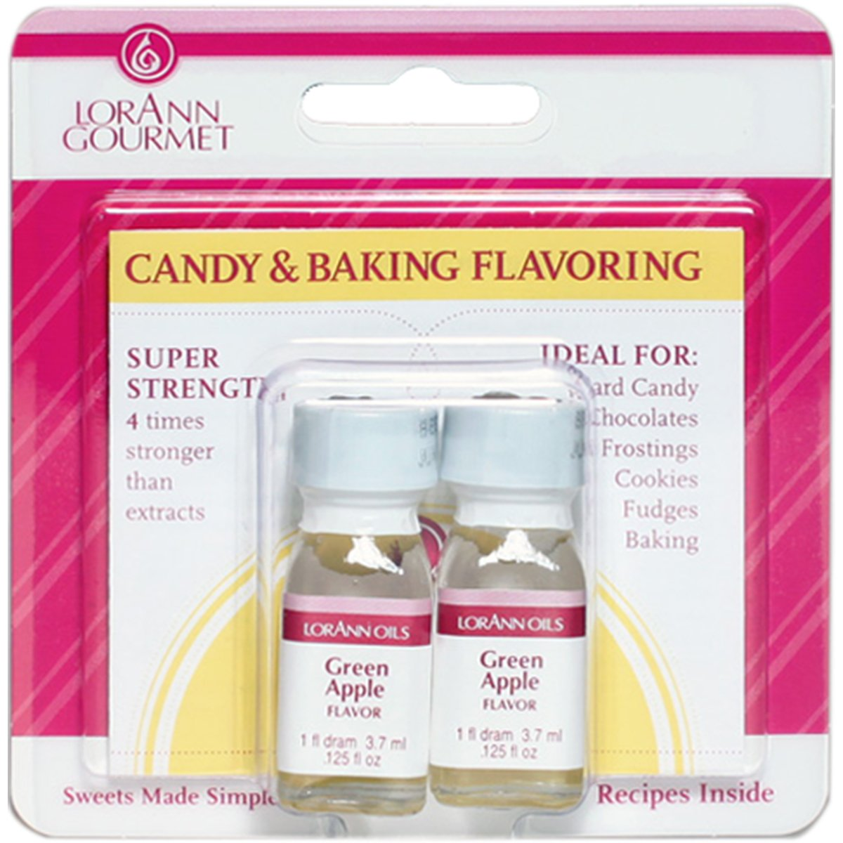 Lorann Oils Candy and Baking Flavoring Bottle (2/ Pack), .125 Ounce, Green Apple