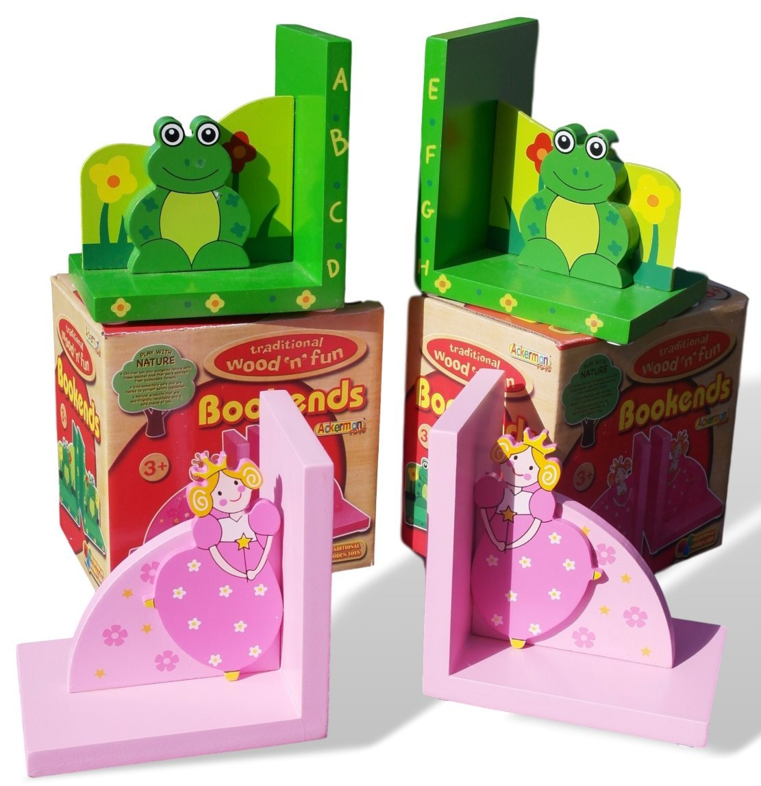 Set of Two Wooden Frog and Princess bookends Perfect for a Child's Bedroom Vectis
