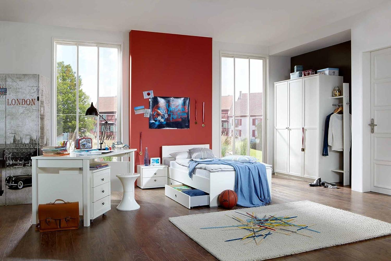 lifestyle4living Jugendzimmer 3-TLG. in Alpinweiß, Kleiderschrank Breite: 135, Bett 90 x 200 cm, Schreibtisch Breite: 140 cm
