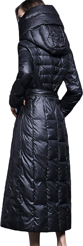 AKT Doudoune d'hiver Femmes Manteaux Longs Parka en Duvet de Canard Blanc pour Femme Vêtements D'extérieur Chauds Noir