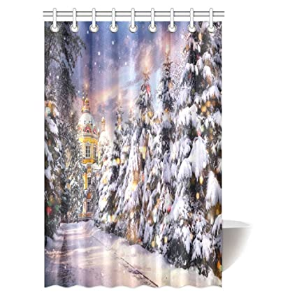 InterestPrint Merry Christmas Decorations Shower Curtain Church With Illuminated Trees In Snowfall On