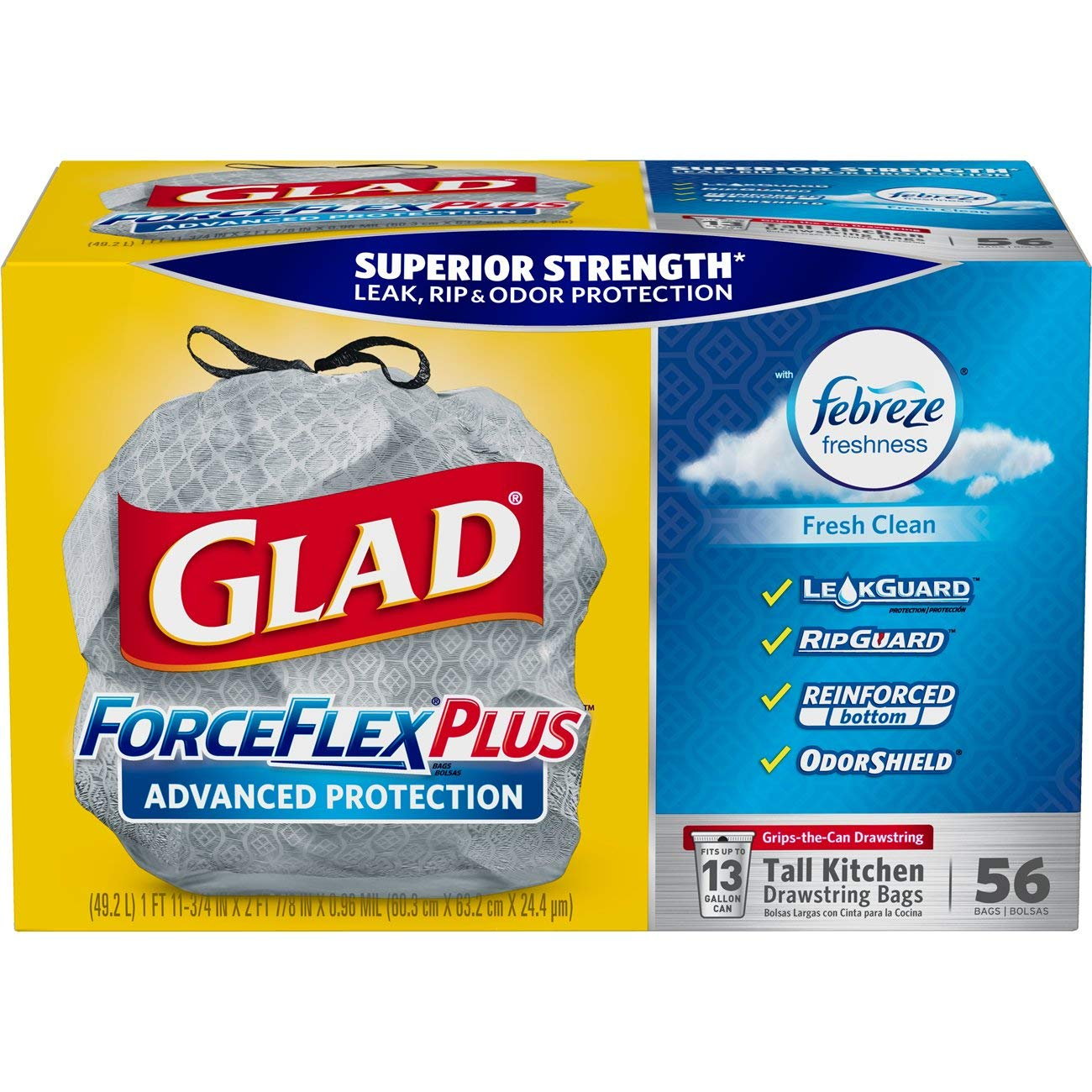 Glad ForceFlexPlus Advanced Protection Tall Kitchen Drawstring Trash Bags - Febreze Fresh Clean -13 Gallon - 56 Count (Packaging May Vary) Clorox Company