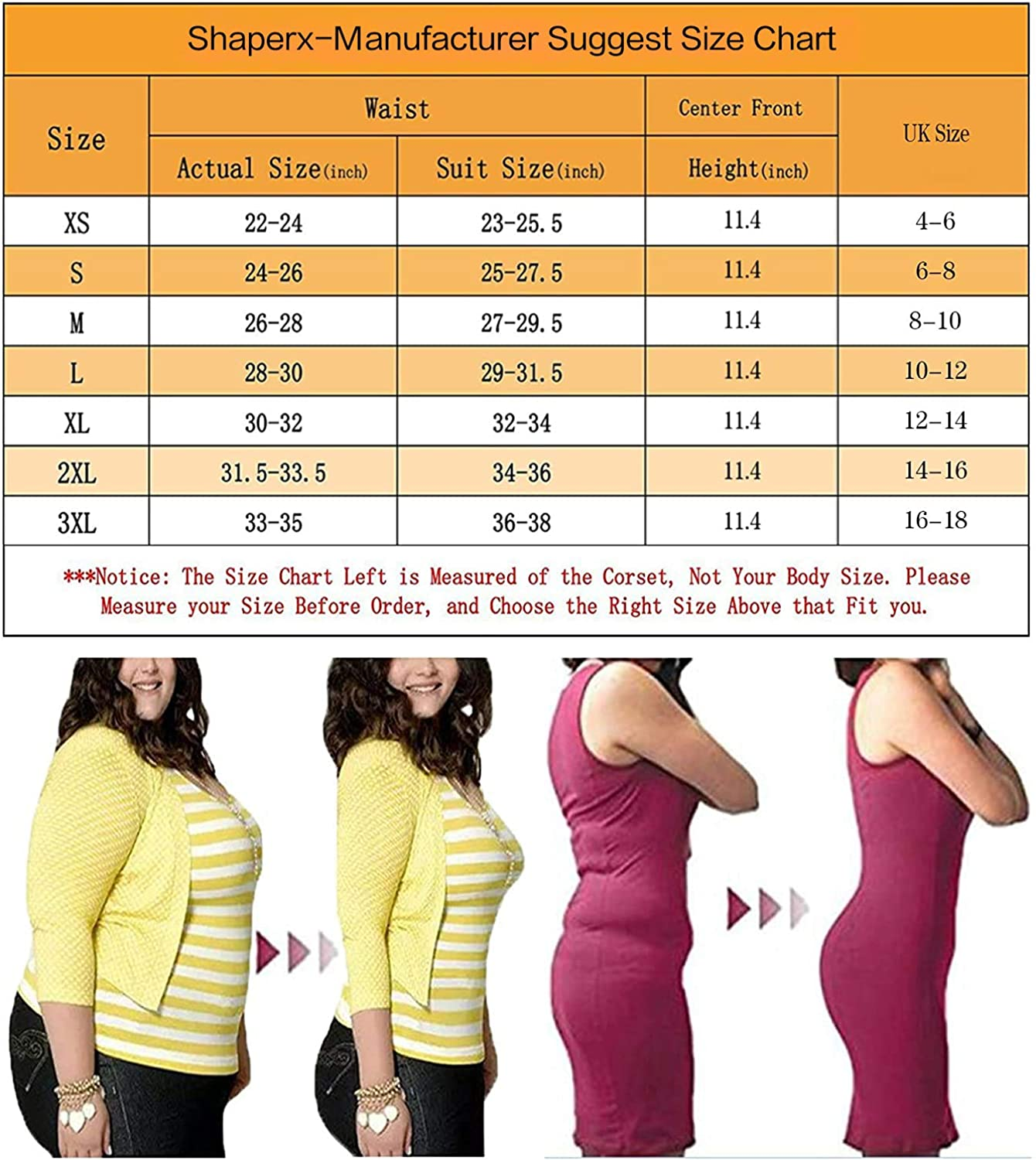 SHAPERX Donna Waist Trainer Dimagrante Latex Corsetto Body Shaper Modellante