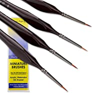 Small Paint Brush Miniature Brushes. Fine Tip Series 4pc 000 Paintbrushes Set for Art Watercolor Acrylics Oil - Model Craft