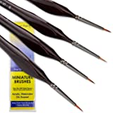 Small Paint Brush Miniature Brushes. Fine Tip Series 4pc 000 Paintbrushes Set for Art Watercolor Acrylics Oil - Model Craft W