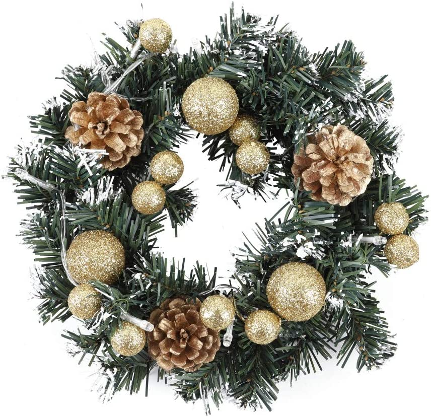 Jemets Christmas Wreath With Battery Powered Light String Front Door Hanging Garland Holiday Home Decorations 40cm 15 7in L