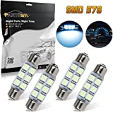 Partsam 44mm Festoon LED Light Bulbs LED Car Interior Lights Map Dome Reading Lights Bulbs 211-2 578 569 Festoon LED Bulb 6-SMD 12V for Chevrolet Dodge Ford GMC etc-Ice Blue (Pack of 4)