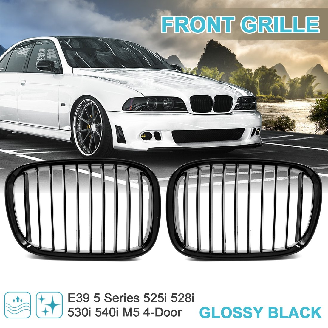 sourcing map 2pcs Glossy Black Front Kidney Grille Grill 4-Door