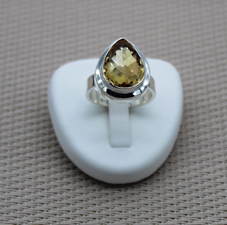 Anillo de plata citrina. Anillo de plata de piedra natural. Anillo de lágrima de plata