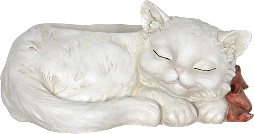 """Collectible Statue Life Size 6.5/""""L New Sleeping Black and White Kitten Cat"""
