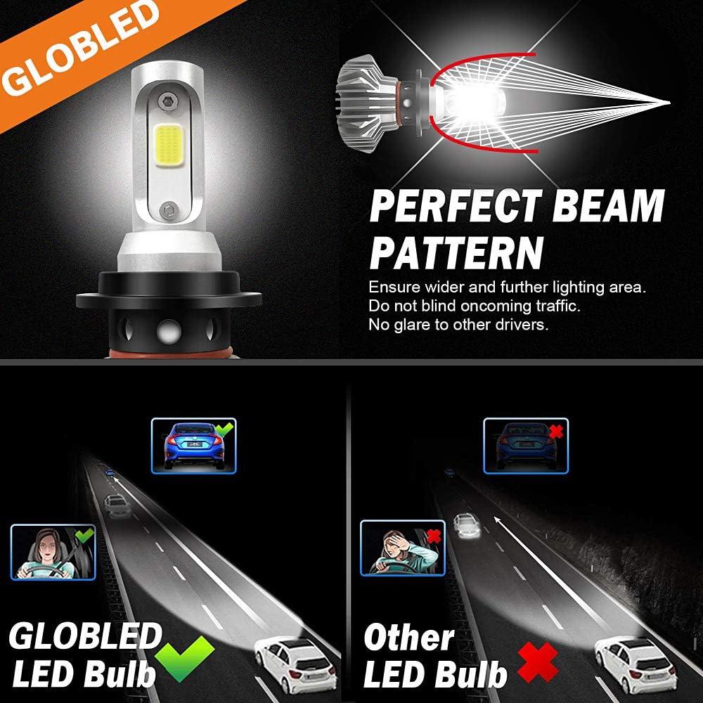 H7 LED Headlight Bulbs 50W 5000Lumens Led Headlight Bulbs LED Single Beam Fanless Waterproof Headlights Conversion Kit 6500K Cool White IP68 Halogen replacement Pack of 2