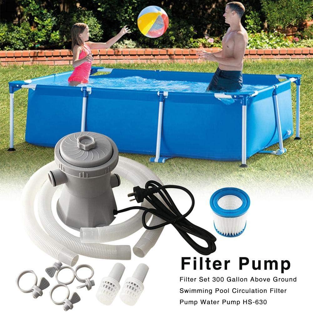 Conjunto de bomba de filtro de piscina, herramienta de limpieza por encima del suelo de 300 gal con manguera de 1 m para el agua de filtro de circulación piscina: Amazon.es: Hogar