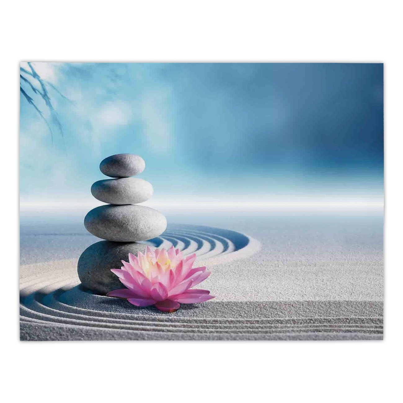 iPrint Rectangular Satin Tablecloth,Spa Decor,Stones and Lotus Flower over Sand Meditation Harmony Balance Flourish Your Spirit Theme,Grey Blue Pink,Dining Room Kitchen Table Cloth Cover by iPrint (Image #1)