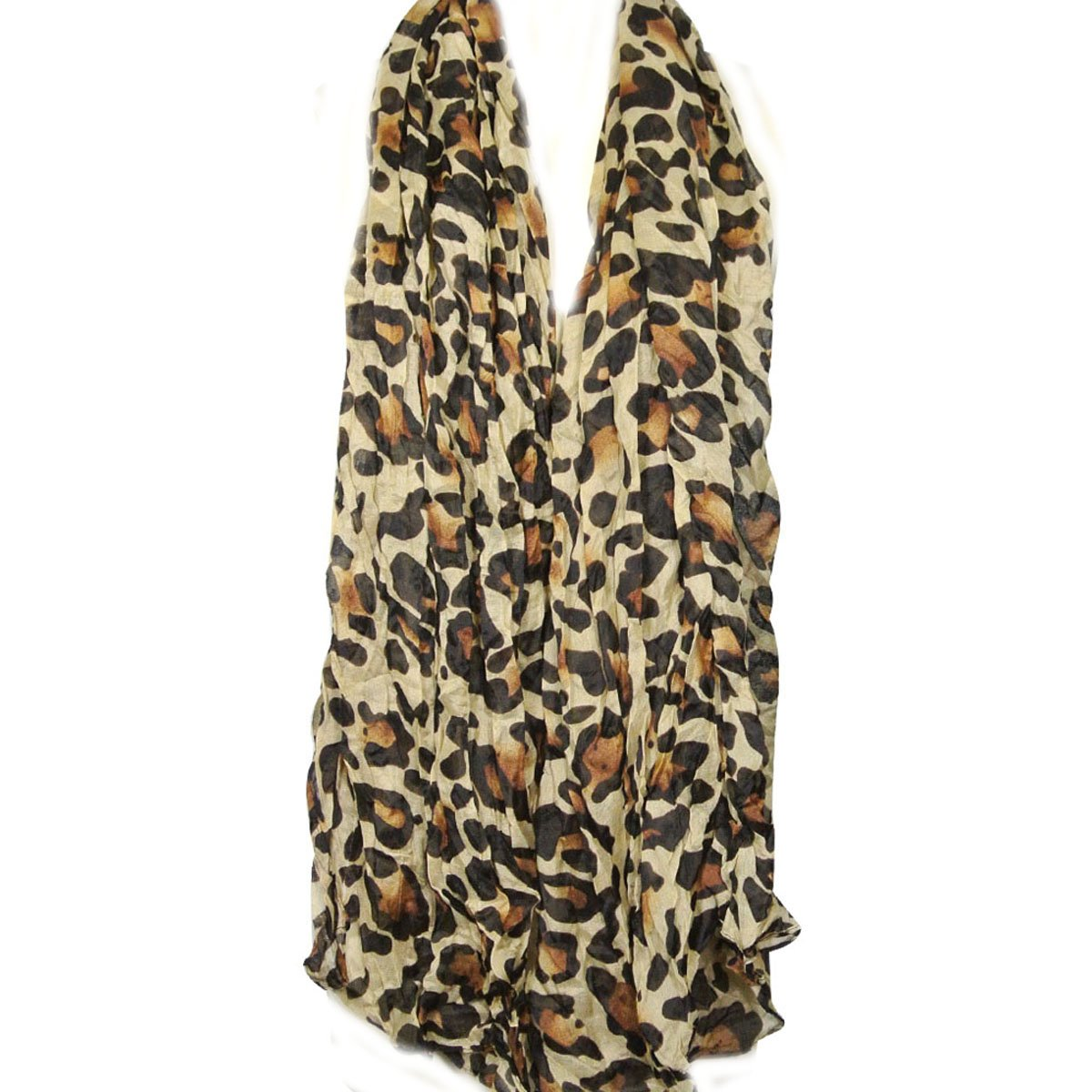Wrapables Large Leopard Print Scarf - Camel