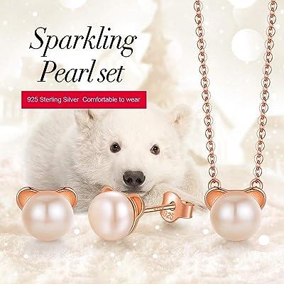 925 Sterling Silver Childrens Girls Teddy Bear Necklace /& Stud Earrings Set