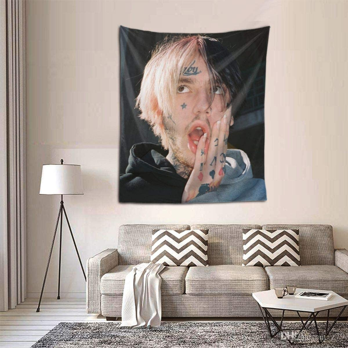 Silver-S Hip Hop Rapper Lil Peep Poster Small Tapestries Black Art Wall Hanging Throw Tapestry 60×51 Inches for Bedroom Living Room Dorm Room