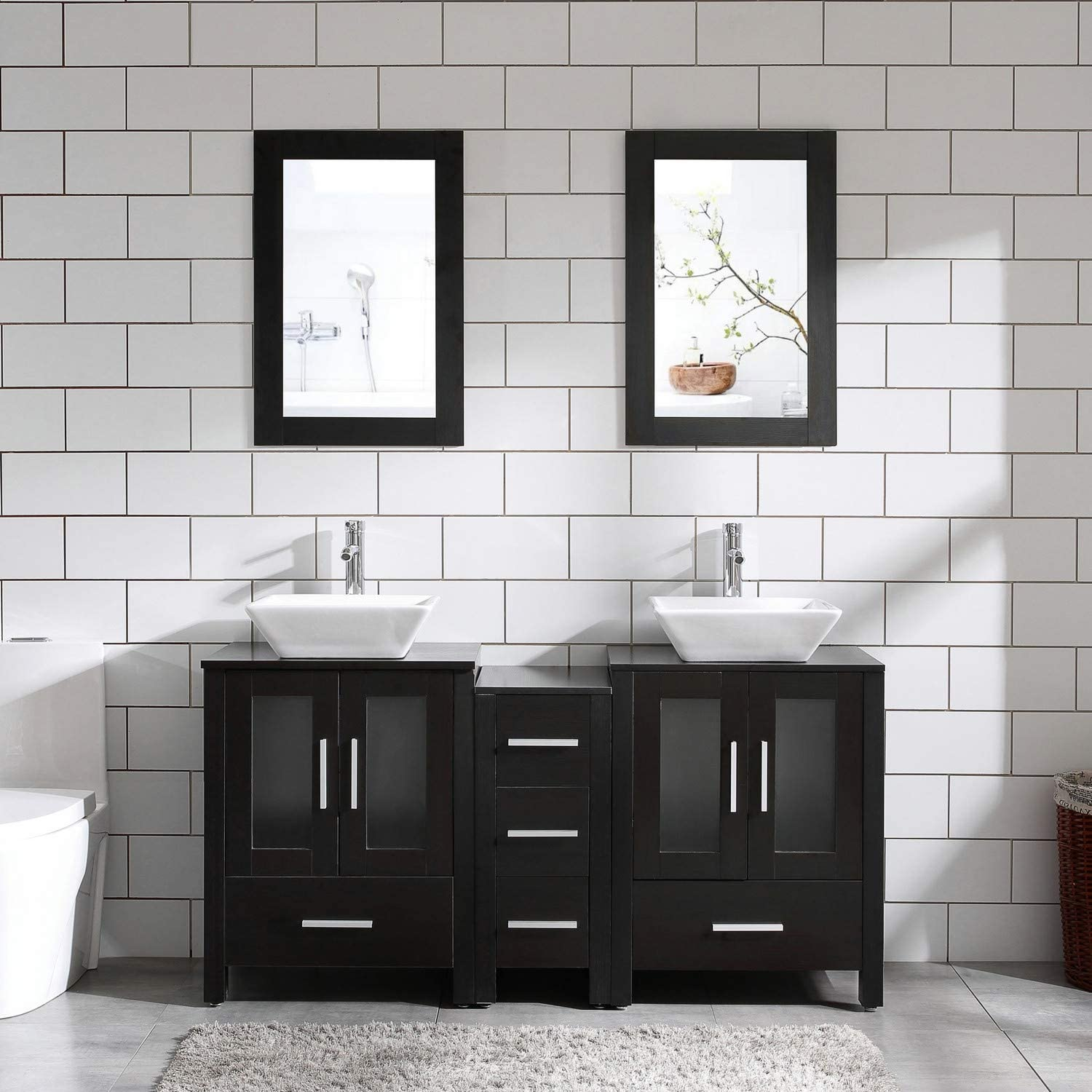 60 Bathroom Vanity Cabinet Double Top Sink Combo Black MDF Wood w Mirror Faucet and Drain